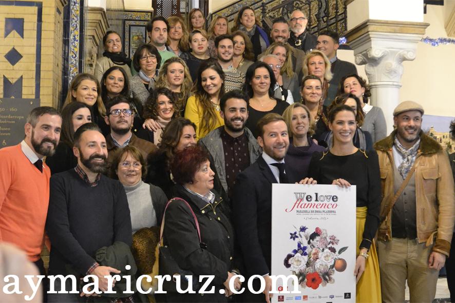 Javier Villa y Laura Sánchez junto a los diseñadores de la tercera edición de We Love Flamenco
