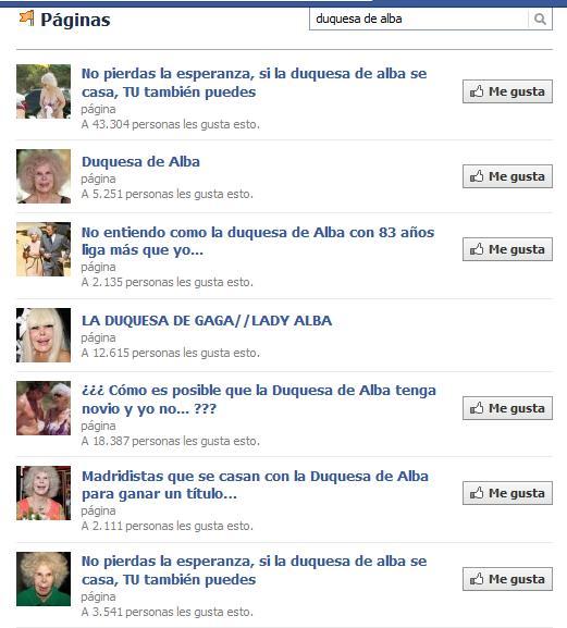 Páginas de Facebook dedicadas a la Duquesa de Alba (y a su boda).